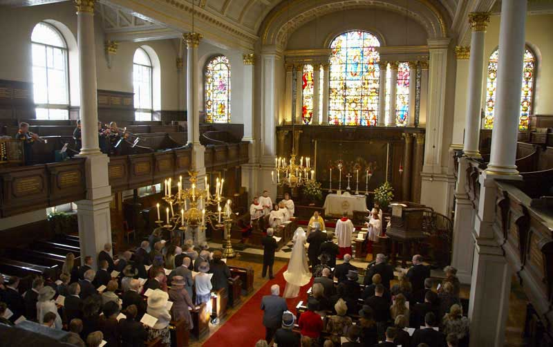 Church Wedding at St George's Hanover Square inside
